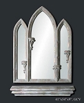 Gothic Arch Mirror Set with Shelf