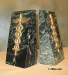 Caduceus Bookends Serpentine Marble