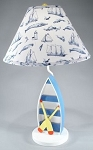 Blue Rowboat Lamp with Whale Shade