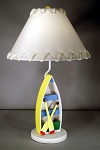 Yellow Row Boat Lamp with White Laced Shade