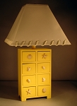 Yellow 8 Drawer Shell Pull Lamp