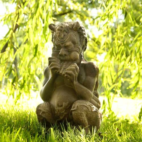 Seated Greek Pan Outdoor Statue 7W X 8D X 14H