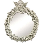 Large Round Cherub Mirror