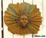 Contemporary Sun Face Wall Sculpture