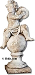 Cherub on Ball Playing Cymbals Statue