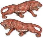Asain Tigers Statues Left and Right