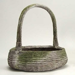 Wicker Basket Planter With Handel (Small)