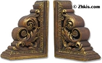 Carved Scroll Bookends