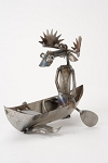 Canoeing Moose Metal Statue