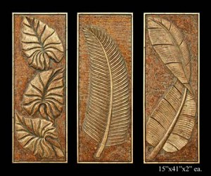Tropical Floral Wall Sculptures (3 Piece)