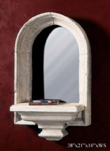 Window Wall Shelf with Mirror