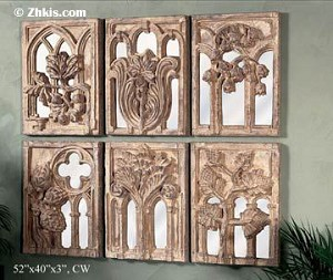 Wall Sculpture Set with Mirrors  (6 pieces)