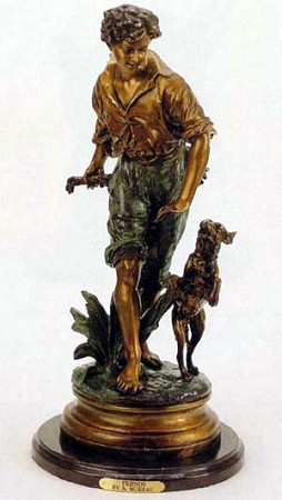 Boy and His Dog Sculpture (Bronze)