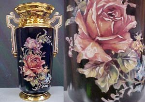 Black Porcilin Rose Vase