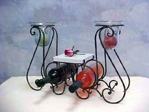 Rustic Iron Candle Holder Wine Rack