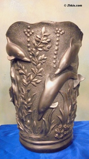 Dolphin Vase in Pewter Finish