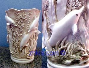 Dolphin Vase in White