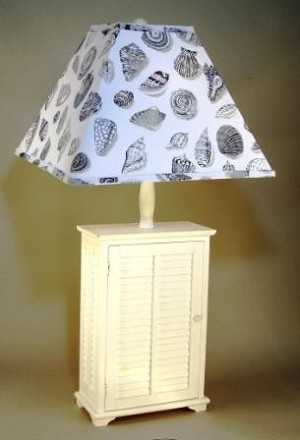 White Shutter Lamp with Shell Shade