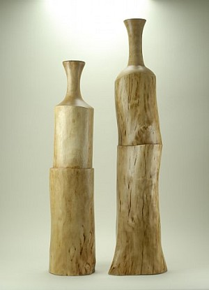 Carved Wooden Bottles