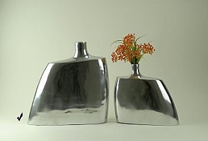 Flask Style Polished Aluminum Vase Set