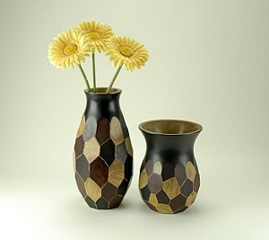 Set of Two Four Tone Vases