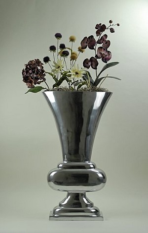 Tall Chrome Vase