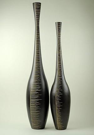 Two Tall Wood Floor Vases