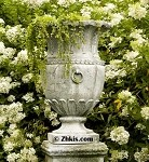 Tall Narrow Garden Urn With Rings