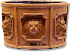 Round Lion Head Planter Large