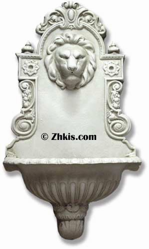 Ornate Lion Wall Water Fountain