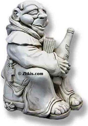 Wine Drinking Monk Statue Small