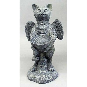 Funny Cat Bird Feeder Statue