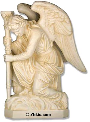Angel Kneeling with Staff Statue Right