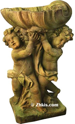 Two Cherubs with Shell Birdbath