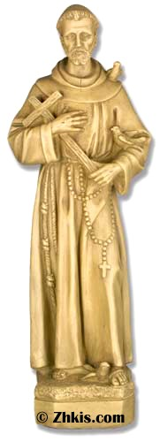 Saint Francis With Cross Statue