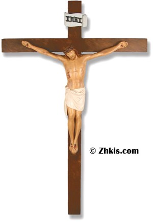 Christ on Cross In Color Statue