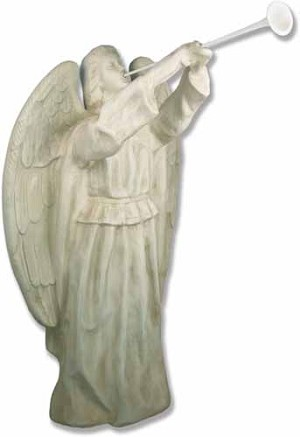Life Size Angel with Horn Statue