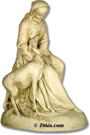 Saint Clare With Deer Statue
