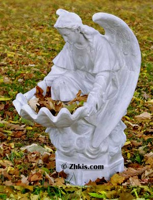 Large Kneeling Angel Birdbath