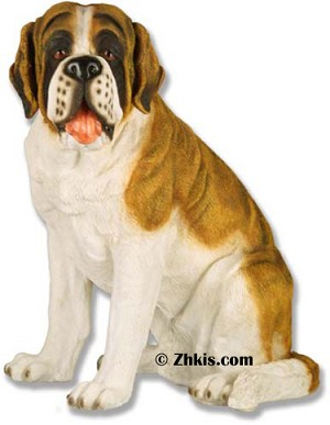 Saint Bernard Dog Statue in Color
