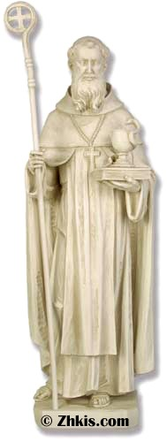 Saint Benedict With Staff Statue