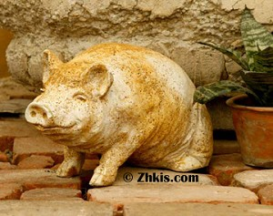 Small Sitting Pig Statue