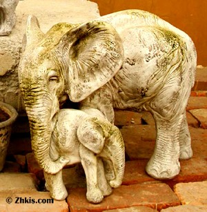Elephant with Baby Statue