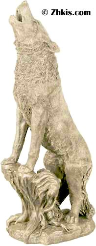Large Howling Wolf Statue