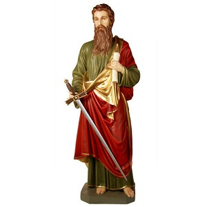 Life Size Saint Paul Statue in Color