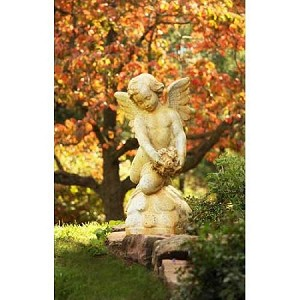 Girl Angel Statue Gathering Roses