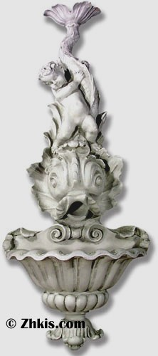 Cherub with Fish Wall Water Fountain