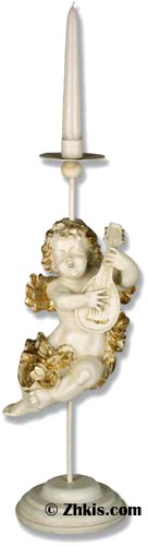 Cherub Candleholder with Mandolin
