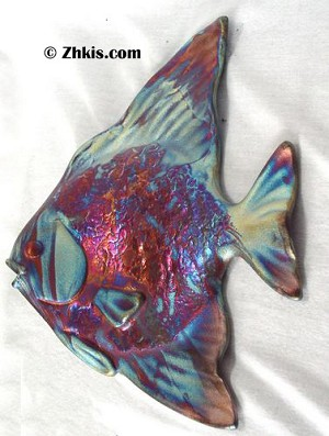 Angel Fish Raku Wall Plaque
