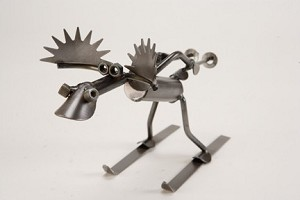 Small Moose Skiing Sculpture
